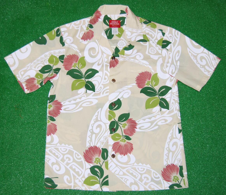 アロハシャツ|AKIMI DESIGNS HAWAII(アキミ デザインズ ハワイ)|AK159|半袖|メンズ|アイボリー(きなり)|花・フラワー柄|ハワイ|コットン35%ポリ65%|開襟(オープンカラー)|1万円以上で送料無料!