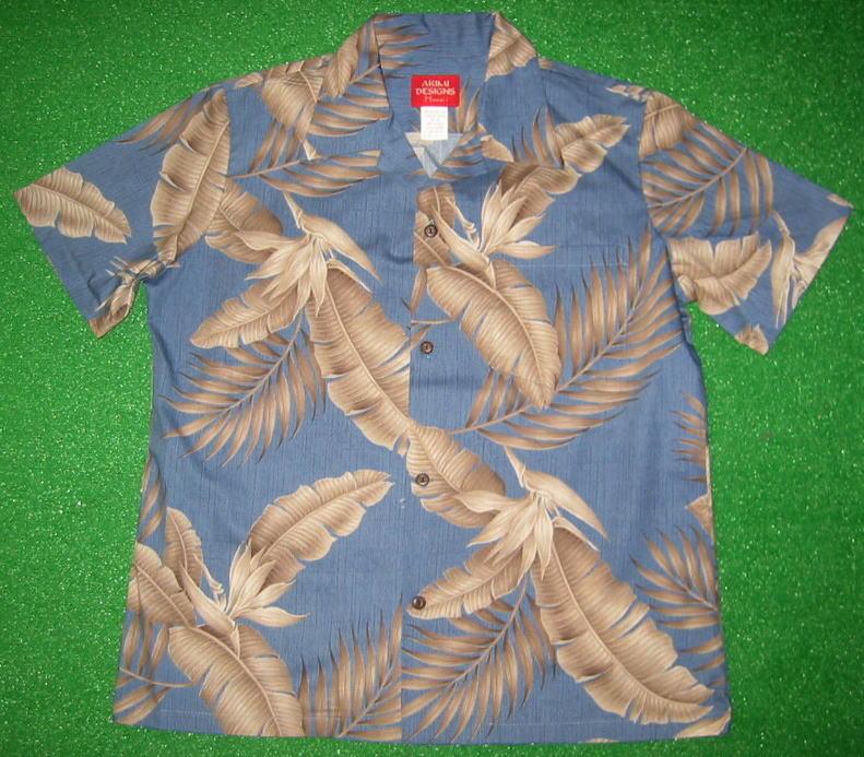 レディスアロハシャツ AKIMI DESIGNS HAWAII(アキミ デザインズ ハワイ) AKL049 半袖 スチールブルー (紺・銀青) ハワイアンリーフ柄(葉柄) コットン100% 開襟(オープンカラー) 1万円以上で送料無料