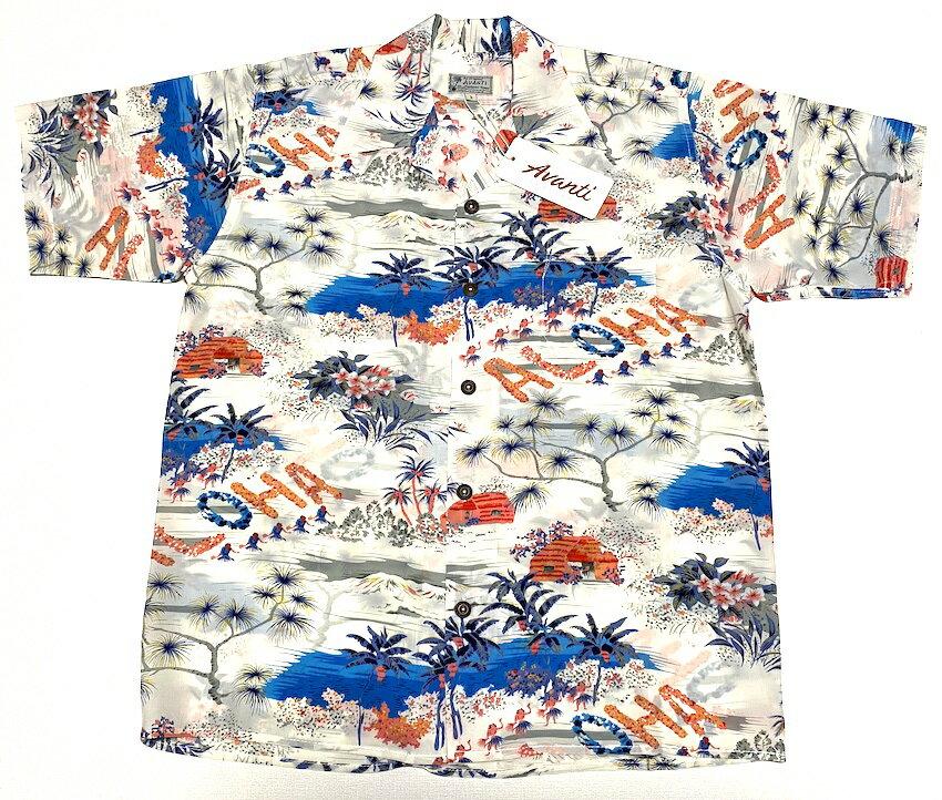 アロハシャツ AVANTI SILK(アヴァンティ シルク) A1018WHT 半袖 メンズ ホワイト(白色) ハワイアン フラガール ヤシの木 海 波 リゾート おしゃれ ヴィンテージレプリカ シルク100% 開襟(オープンカラー) 送料無料商品
