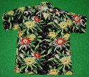 アロハシャツ|AVANTI SILK(アヴァンティ シルク)|A1025BLK|半袖|メンズ|ブラック(黒)|花・フラワー柄|月下…