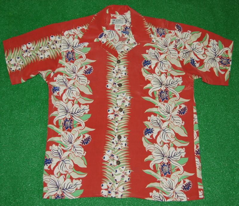 アロハシャツ AVANTI SILK(アヴァンティ シルク) A1111RD 半袖 メンズ 洋柄 レッド(赤) 花・フラワー柄(オーキッド ハワイアン リゾート ボーダーパターン シルク100% 開襟(オープンカラー) 送料無料商品