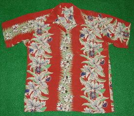 アロハシャツ|AVANTI SILK(アヴァンティ シルク)|A1111RD|半袖|メンズ|洋柄|レッド(赤)|花・フラワー柄(オーキッド|ハワイアン|リゾート|ボーダーパターン|シルク100%|開襟(オープンカラー)|送料無料商品