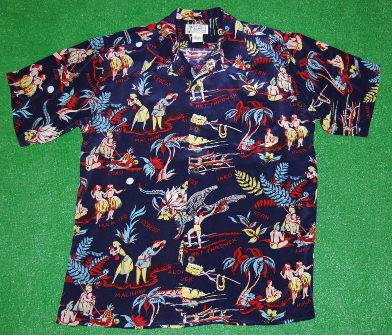 アロハシャツ|AVANTI SILK(アヴァンティ シルク)|A1149NV|半袖|メンズ|ネイビー(少し明るめの紺色)|ハワイアン柄|フラガール|ヤシの木|カメハメハ大王|ヴィンテージレプリカ|シルク100%|開襟(オープンカラー)|送料無料商品