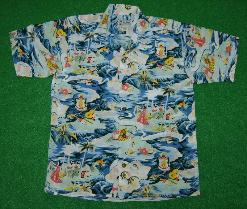 アロハシャツ|AVANTI SILK(アヴァンティ シルク)|A1155BLU|半袖|メンズ|ブルー|ランド・オブ・ハワイ|海|魚|フラガール|ヤシの木|サーフィン|ウクレレ|ヴィンテージレプリカ|シルク100%|開襟(オープンカラー)|送料無料商品