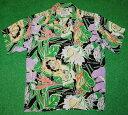 アロハシャツ|AVANTI SILK(アヴァンティ シルク)|A1160BLK|半袖|メンズ|ブラック(黒)|花・フラワー|ハワイ…