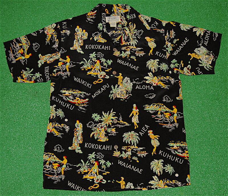 アロハシャツ|AVANTI SILK(アヴァンティ シルク)|A1182BLK|半袖|メンズ|ブラック(黒)|カメハメハ大王|フラガール|ヴィンテージレプリカ|ヤシの木|サーフィン|ハワイ|南国|シルク100%|開襟(オープンカラー)|送料無料商品