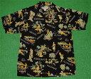 アロハシャツ|AVANTI SILK(アヴァンティ シルク)|A1182BLK|半袖|メンズ|ブラック(黒)|カメハメハ大王|フラ…