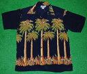 アロハシャツ|AVANTI SILK(アヴァンティ シルク)|A850N|半袖|メンズ|ネイビー(紺色)|パームツリー(ヤシの木…