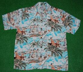 アロハシャツ|AVANTI SILK(アヴァンティ シルク)|A898BL|半袖|メンズ|スカイブルー(水色)|ハワイ|海|ヤシの木|フラガール|ダイヤモンドヘッド|ビーチ|リゾート|ヴィンテージレプリカ|シルク100%|開襟(オープンカラー)|送料無料商品