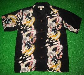 アロハシャツ/メンズ/半袖/黒/AVANTI SILK(アヴァンティ)/虎/タイガー/龍/ドラゴン/和柄/A919B/ハワイ/ヴィンテージレプリカ/プレゼント/シルク100%/開襟(オープンカラー)/送料無料商品