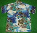 アロハシャツ GOBAREFOOT(ゴーベアフット) GB022 半袖 メンズ ブルー系 ハワイアン 海 ヤシの木 ココナッツツリー ダイヤモンドヘッド リゾート レーヨン100%(表地) ノーマルシャツスタイル(フルオープン) 送料無料商品