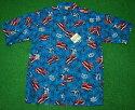 アロハシャツ GOBAREFOOT(ゴーベアフット) GB044 半袖 メンズ アクアブルー ハワイアン ヤシの木 カメハメハ大王 ハワイ州旗 コットン55%ポリエステル45%(表地) ノーマルシャツスタイル(フルオープン) 送料無料
