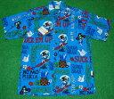 アロハシャツ GO BAREFOOT(ゴーベアフット) GB059 半袖 メンズ ブルー(濃い水色) ハワイアンモチーフ 文字柄 おし…