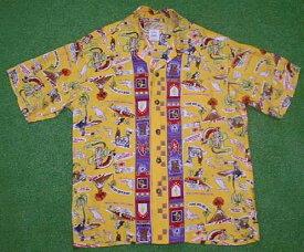 半袖アロハシャツ LALAKAI(ララカイ) HU002Y イエロー(黄色) メンズ ハワイアン柄 レーヨン00% 開襟(オープンカラー) 1万円以上で送料無料