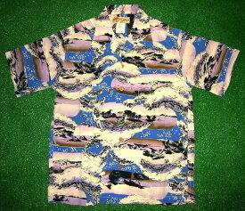 半袖アロハシャツ LALAKAI(ララカイ) HL006BL ブルー(青) メンズ 和柄(江戸時代風景画) シルク100% 開襟(オープンカラー) 1万円以上で送料無料