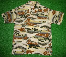 半袖アロハシャツ LALAKAI(ララカイ) HL006BR ブラウン(茶色) メンズ 和柄(江戸時代風景画) シルク100% 開襟(オープンカラー) 1万円以上で送料無料