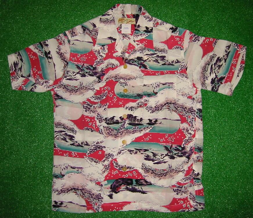 半袖アロハシャツ|LALAKAI(ララカイ)|HL006R|レッド・ピンク(桃色)|メンズ|和柄(江戸時代風景画)|シルク100%|開襟(オープンカラー)|1万円以上で送料無料