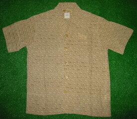 半袖アロハシャツ LALAKAI(ララカイ) IT003I アイボリー(カーキ系) メンズ 和柄(古銭・小紋) シルク100% 開襟(オープンカラー) 1万円以上で送料無料