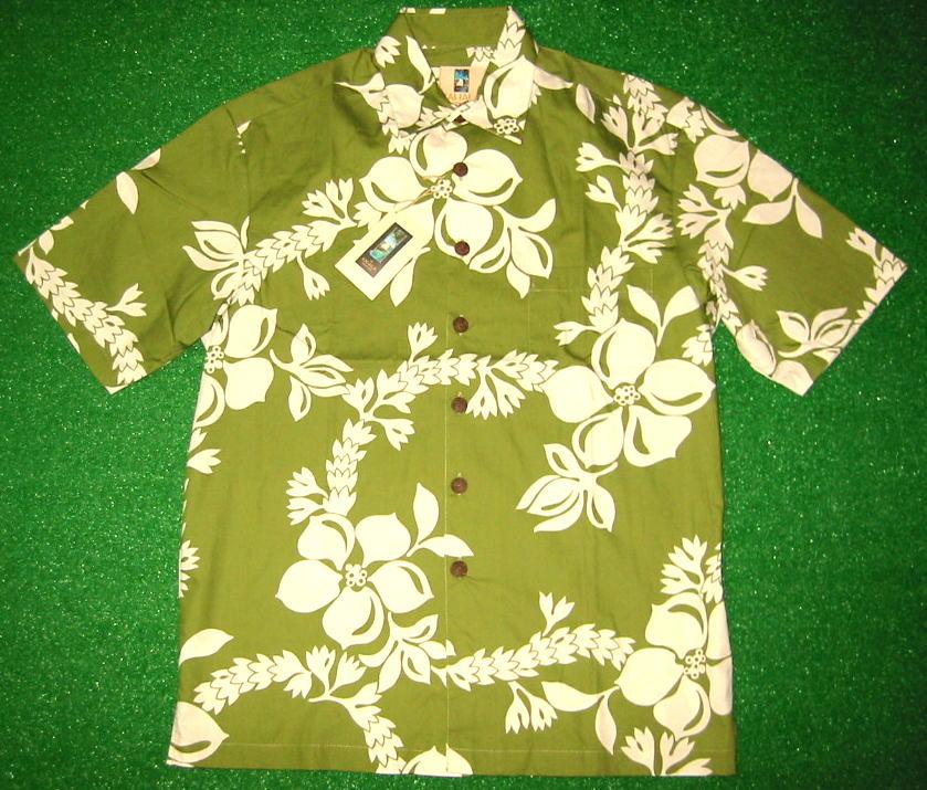 アロハシャツ|KAHALA(カハラ)|KHL003|半袖|メンズ|グリーン(緑)|花柄(ハワイアンフラワー・ハワイアンレイ・ハイビスカス)|コットン100%(表地)|ノーマルシャツスタイル(ノーマルカラー)|送料無料商品