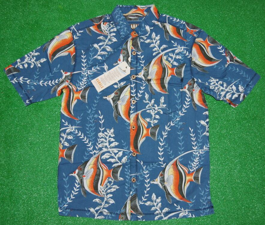 アロハシャツ KAHALA(カハラ) KHL016 半袖 メンズ ネイビー・スレイトブルー(紺・青) 熱帯魚柄(ツノダシ・アンダーザシー・海中) コットン100%(表地) ノーマルシャツスタイル(ノーマルカラー) 送料無料商品