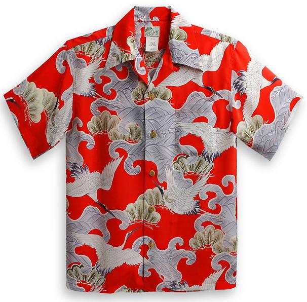 半袖アロハシャツ|LALAKAI(ララカイ)|HL019R|レッド(赤)|メンズ|和柄|鶴柄・松柄|シルク100%|開襟(オープンカラー)|送料無料商品