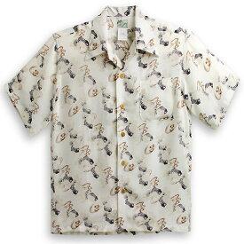 半袖アロハシャツ LALAKAI(ララカイ) HL022IV ホワイト(白) メンズ 和柄 金魚柄(きんぎょ) 黒金魚 シルク100% 開襟(オープンカラー) 送料無料商品