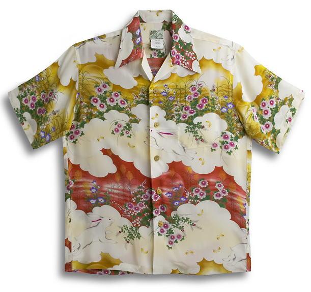 半袖アロハシャツ|LALAKAI(ララカイ)|HL034GD|ゴールド(金)|レッド(赤・エンジ)|メンズ|和柄|うさぎ柄(兎)|花柄(フラワー)|シルク100%|開襟(オープンカラー)|送料無料商品
