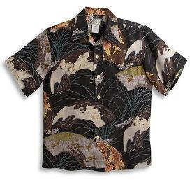 半袖アロハシャツ LALAKAI(ララカイ) HL042BK ブラック(黒) メンズ 和柄 うさぎ柄(兎)・紅葉柄・十五夜 シルク100% 開襟(オープンカラー) 送料無料商品