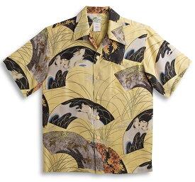 半袖アロハシャツ LALAKAI(ララカイ) HL042YE イエロー・カーキ(黄色) メンズ 和柄 ウサギ柄(兎)・紅葉柄・十五夜 シルク100% 開襟(オープンカラー) 送料無料商品