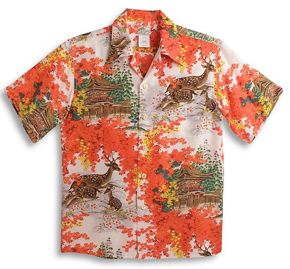 半袖アロハシャツ|LALAKAI(ララカイ)|HL044RD|レッド(赤)|オレンジ|鹿柄・紅葉・金閣寺・京都|メンズ|和柄|シルク100%|開襟(オープンカラー)|送料無料商品