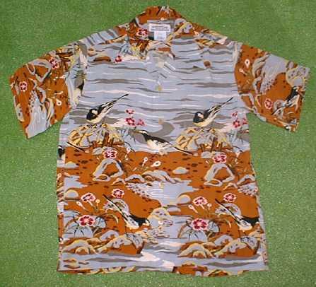 半袖アロハシャツ MAKANA LEI(マカナレイ) AMT018G グレー・シルバー(灰色) メンズ 和柄 鳥・野鳥柄 シルク100% 開襟(オープンカラー) 送料無料商品