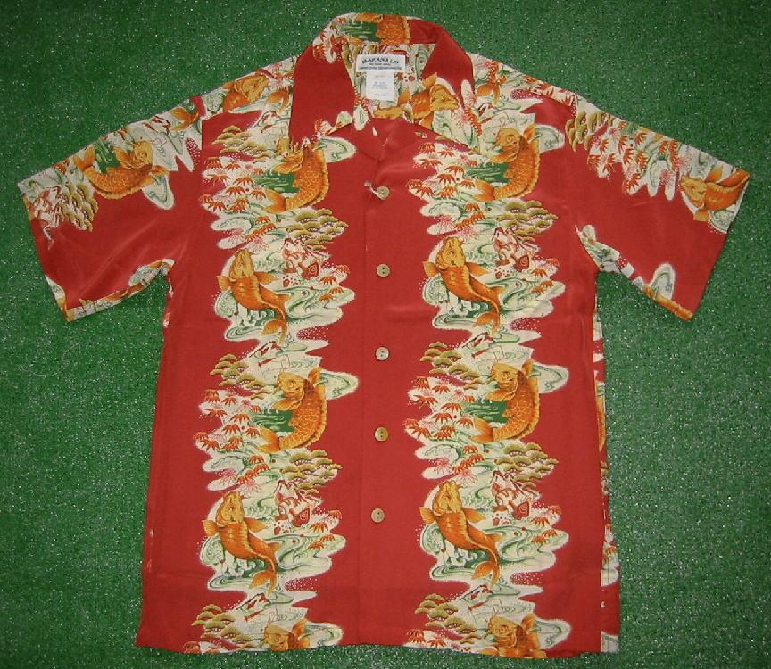 半袖アロハシャツ MAKANA LEI(マカナレイ) AMT025R レッド(赤) メンズ 和柄 鯉柄 ボーダー シルク100% 開襟(オープンカラー) 送料無料商品