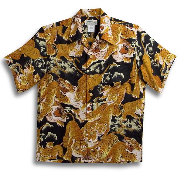 半袖アロハシャツ|メンズ半袖|MAKANA LEI(マカナレイ)|AMT035SPBK|ブラック(黒)|和柄|百虎柄・タイガー・トラ|オーバーオールパターン|シルク(膨れジャガードシルク)100%|開襟(オープンカラー)|送料無料商品