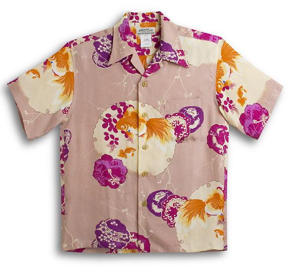 半袖アロハシャツ メンズ半袖 MAKANA LEI(マカナレイ) AMT037SPPC ピーチ(ピンク・ピンクベージュ・桃色) 和柄 金魚柄(きんぎょ) オーバーオールパターン シルク(膨れジャガードシルク)100% 開襟(オープンカラー) 送料無料商品