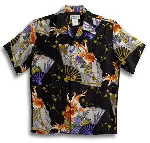 半袖アロハシャツ|MAKANA LEI(マカナレイ)|AMT059BK|ブラック(黒)|メンズ|和柄|金魚|扇子柄|シルク100%|開襟(オープンカラー)|送料無料商品