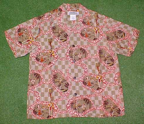 半袖アロハシャツ|MAKANA LEI(マカナレイ)|SR007BE|ベージュ(赤)|メンズ|洋柄|フラガール・フラダンス柄|シルク100%|開襟(オープンカラー)|1万円以上で送料無料