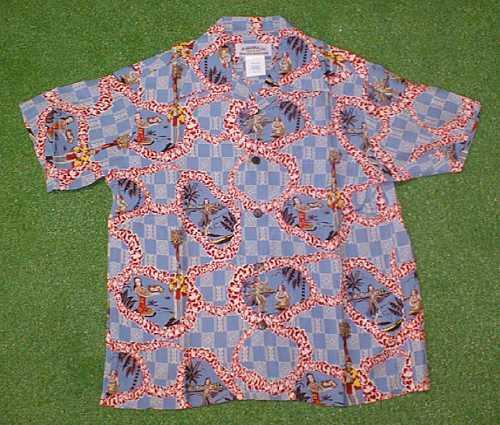 半袖アロハシャツ|MAKANA LEI(マカナレイ)|SR007BL|ライトブルー(青)|メンズ|洋柄|フラガール・フラダンス柄|シルク100%|開襟(オープンカラー)|1万円以上で送料無料