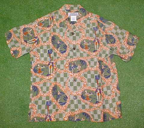 半袖アロハシャツ|MAKANA LEI(マカナレイ)|SR007G|グリーン(緑)|メンズ|洋柄|フラガール・フラダンス柄|シルク100%|開襟(オープンカラー)|1万円以上で送料無料