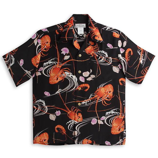 半袖アロハシャツ|MAKANA LEI(マカナレイ)|AMT074BK|ブラック(黒)|メンズ|和柄|伊勢海老柄|エビ|貝殻柄|シルク100%|開襟(オープンカラー)|送料無料商品