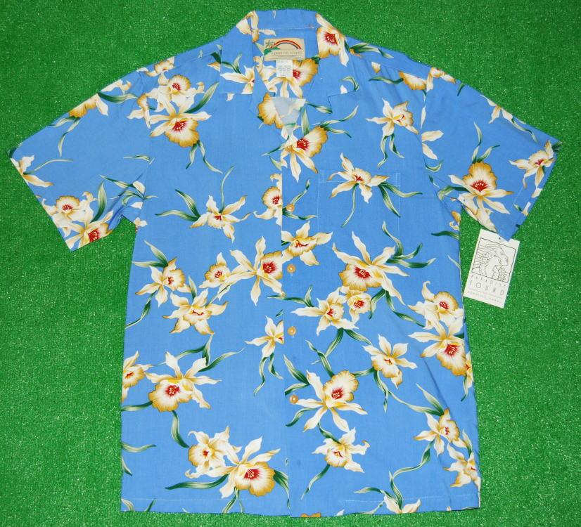 アロハシャツ|PARADISE FOUND(パラダイスファウンド)|PF062|半袖|メンズ|ライトブルー・スカイブルー(水色)|花柄(オーキッド・蘭)|レーヨン100%|開襟(オープンカラー)|送料無料商品