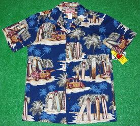 アロハシャツ/メンズ/半袖/大きいサイズ/RJC(アールジェイシー)RJC033/紺・青/カー/車柄/サーフボード/ヤシの木/ギフト/人気/さわやか/プレゼント/結婚式/コットン100%|開襟(オープンカラー)|送料無料