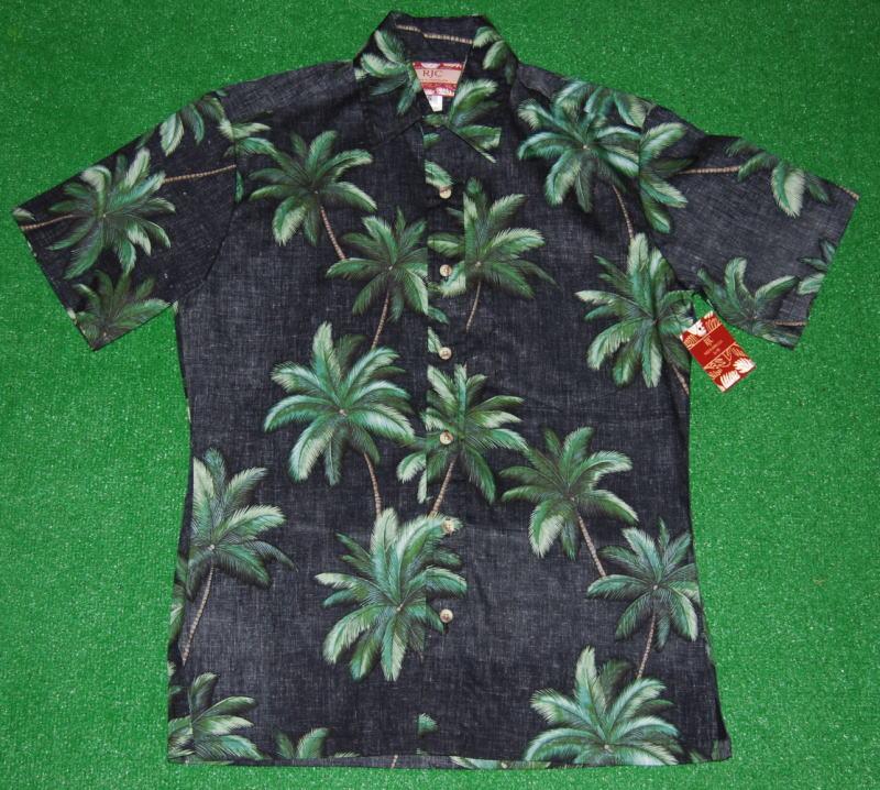 アロハシャツ RJC(アールジェイシー) RJC107 半袖 メンズ ブラック(黒) ヤシの木 ココナッツツリー ハワイ 浴衣 花火 コットン100% 裏地仕様 普通襟(ノーマルカラー) 1万円以上お買い上げで送料無料