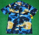 アロハシャツ RJC(アールジェイシー) RJC111 半袖 メンズ ブルー(青) ハワイアン アイランド 島 海 浜辺 風景 ヤシの木 コットン100% 開襟(オープンカラー) 1万円以上お買い上げで送料無料