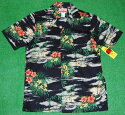 アロハシャツ RJC(アールジェイシー) RJC112 半袖 メンズ ブラック(黒) ハワイアン 海 浜辺 風景 ヤシの木 コットン100% 開襟(オープンカラー) 1万円以上お買い上げで送料無料