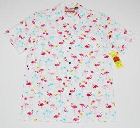 アロハシャツ/メンズ/半袖/大きいサイズ/白/フラミンゴ柄/鳥・バード/ヤシの木/RJC(アールジェイシー)/プレゼント/人気/結婚式/RJC133/コットン100%/開襟(オープンカラー)/送料無料