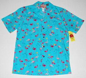 アロハシャツ/メンズ/半袖/大きいサイズ/水色(アクア)/フラミンゴ柄/鳥・バード/ヤシの木/RJC(アールジェイシー)/プレゼント/人気/結婚式/RJC134/コットン100%/開襟(オープンカラー)/送料無料