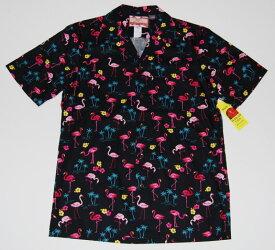 アロハシャツ/メンズ/半袖/大きいサイズ/黒/フラミンゴ柄/鳥・バード/ヤシの木/RJC(アールジェイシー)/プレゼント/人気/RJC141/コットン100%/開襟(オープンカラー)/送料無料