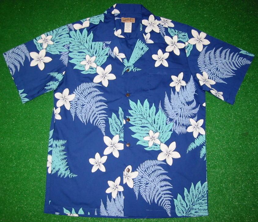 アロハシャツ|SURF RIDER(サーフライダー)|RD043|半袖|メンズ|ブルー・サックスブルー(青・水色)|花柄(プルメリア・ハワイアンフラワー・ハワイアンリーフ・葉柄)|コットン35%ポリエステル65%|開襟(オープンカラー)|1万円以上で送料無料