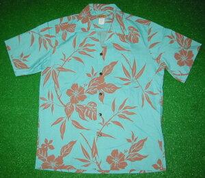 アロハシャツ|SURF RIDER(サーフライダー)|RD050|半袖|メンズ|ミントグリーン(緑・青)|チョコレートブラウン(茶色)|花柄(ハワイアンフラワー、ハイビスカス)|コットン35%ポ