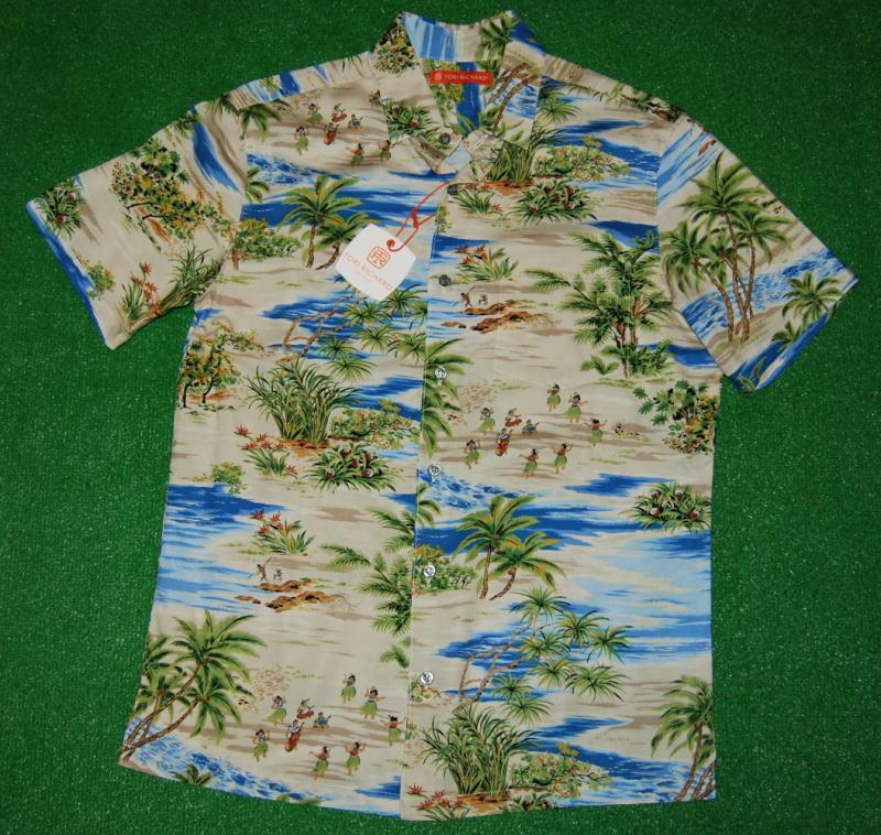 アロハシャツ|TORI RICHARD(トリリチャード)|TOR028|半袖|メンズ|ブルー(青)|ハワイアンビーチ|アイランド|ヤシの木|フラダンス|海|オーバーオール柄|ヴィスコース(レーヨン)100%|普通襟(ノーマルカラー)|送料無料商品
